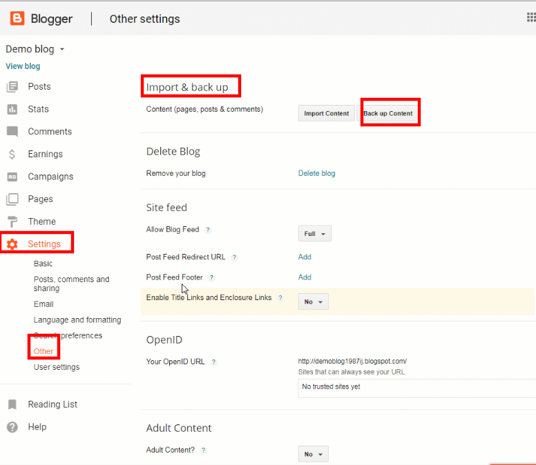Export Blogger Blog's Content