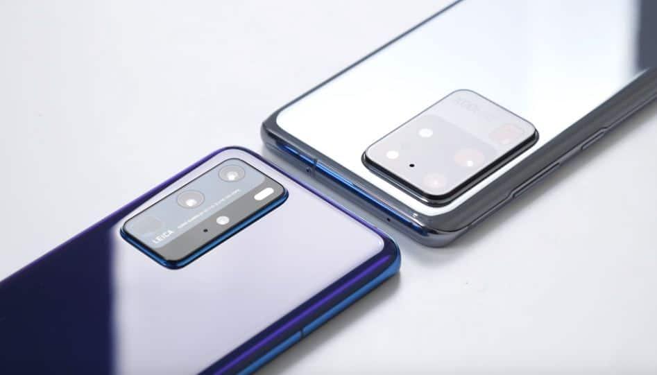 Huawei P40 Pro vs Samsung Galaxy S20 ultra display camera comparison