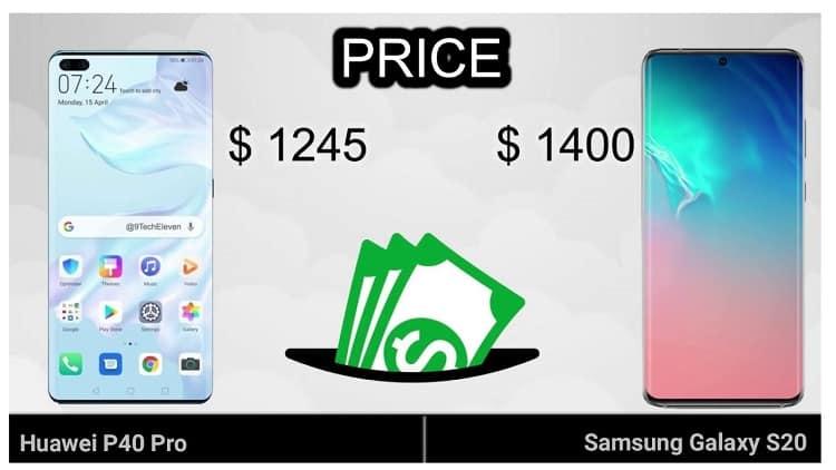 Huawei P40 Pro vs Samsung Galaxy S20 ultra display price comparison