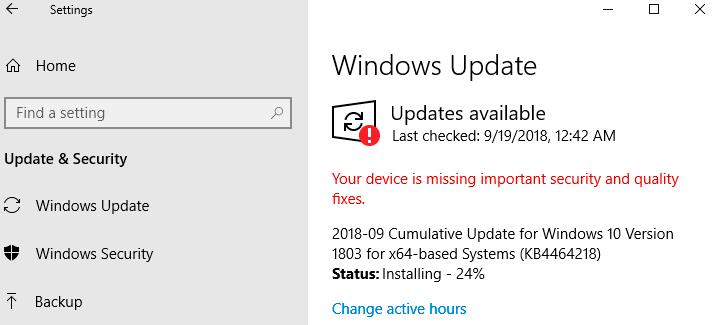 Fixes 2: Update Windows 10